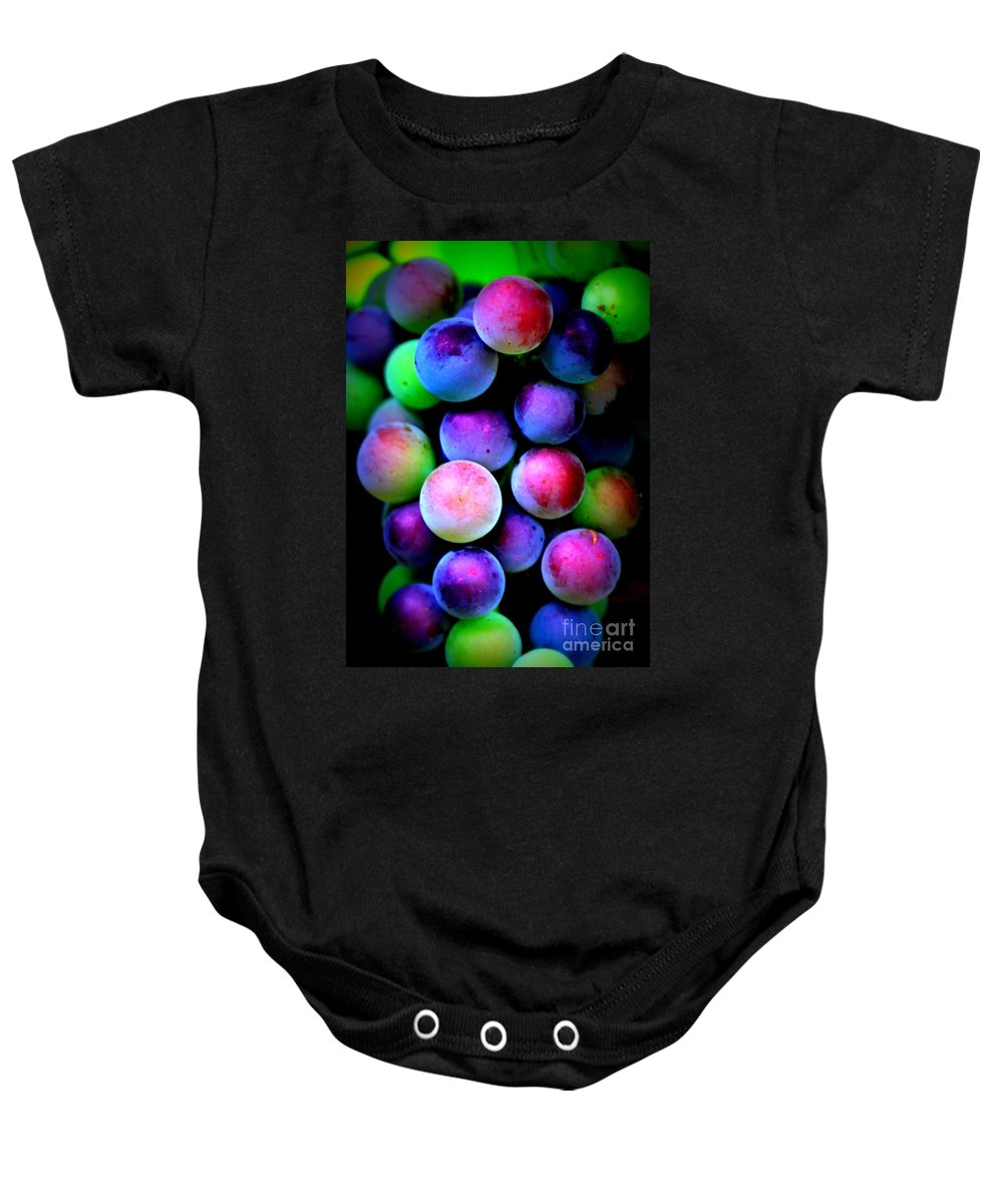 Grapes Baby Onesie featuring the photograph Colorful Grapes - Digital Art by Carol Groenen