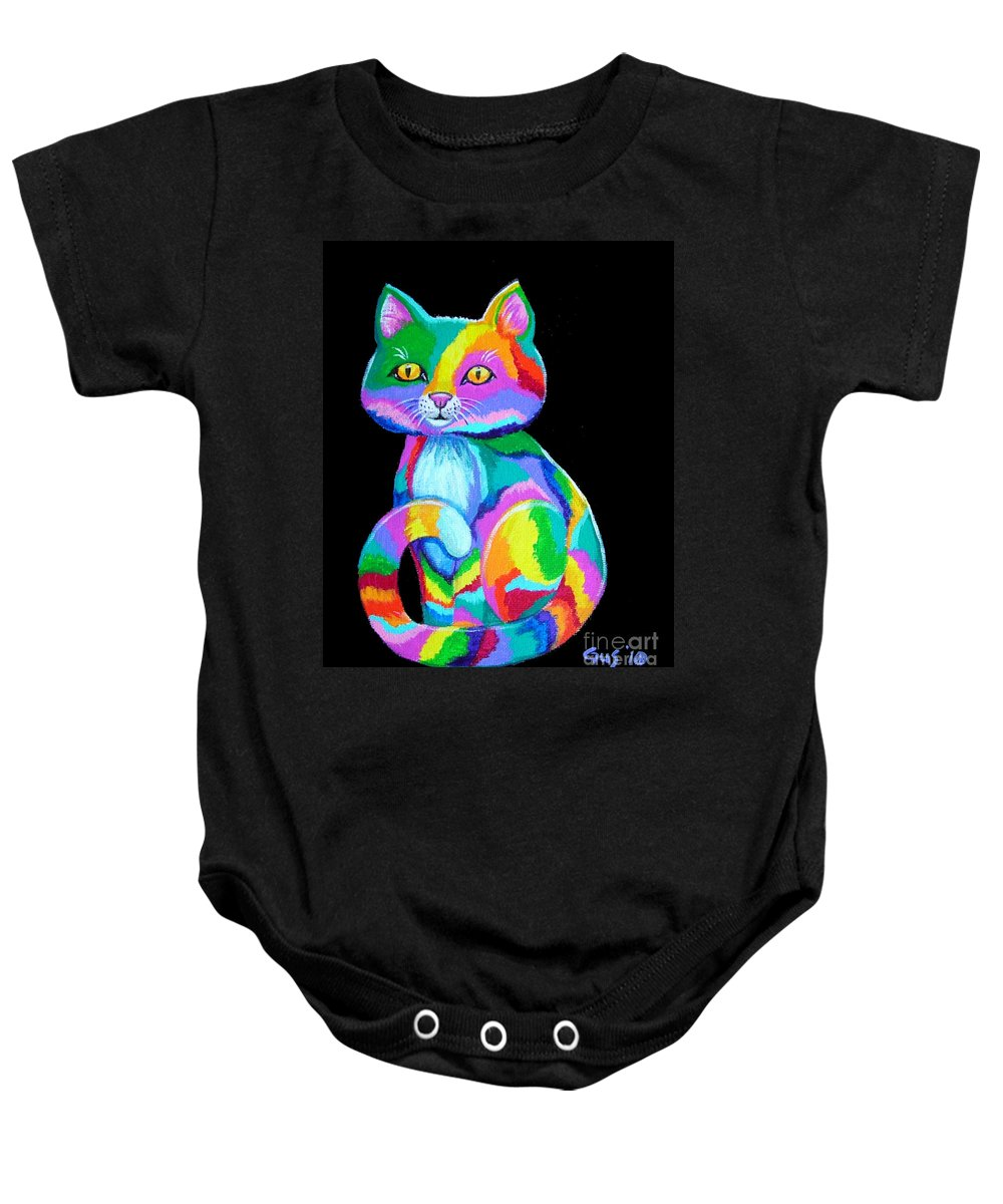 Kitten Baby Onesie featuring the painting Colorful Kitten by Nick Gustafson