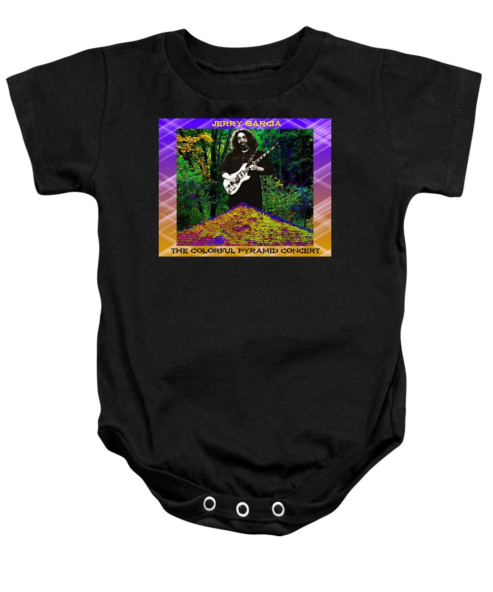 Jerry Garcia Baby Onesie featuring the photograph Colorful Pyramid Concert by Ben Upham