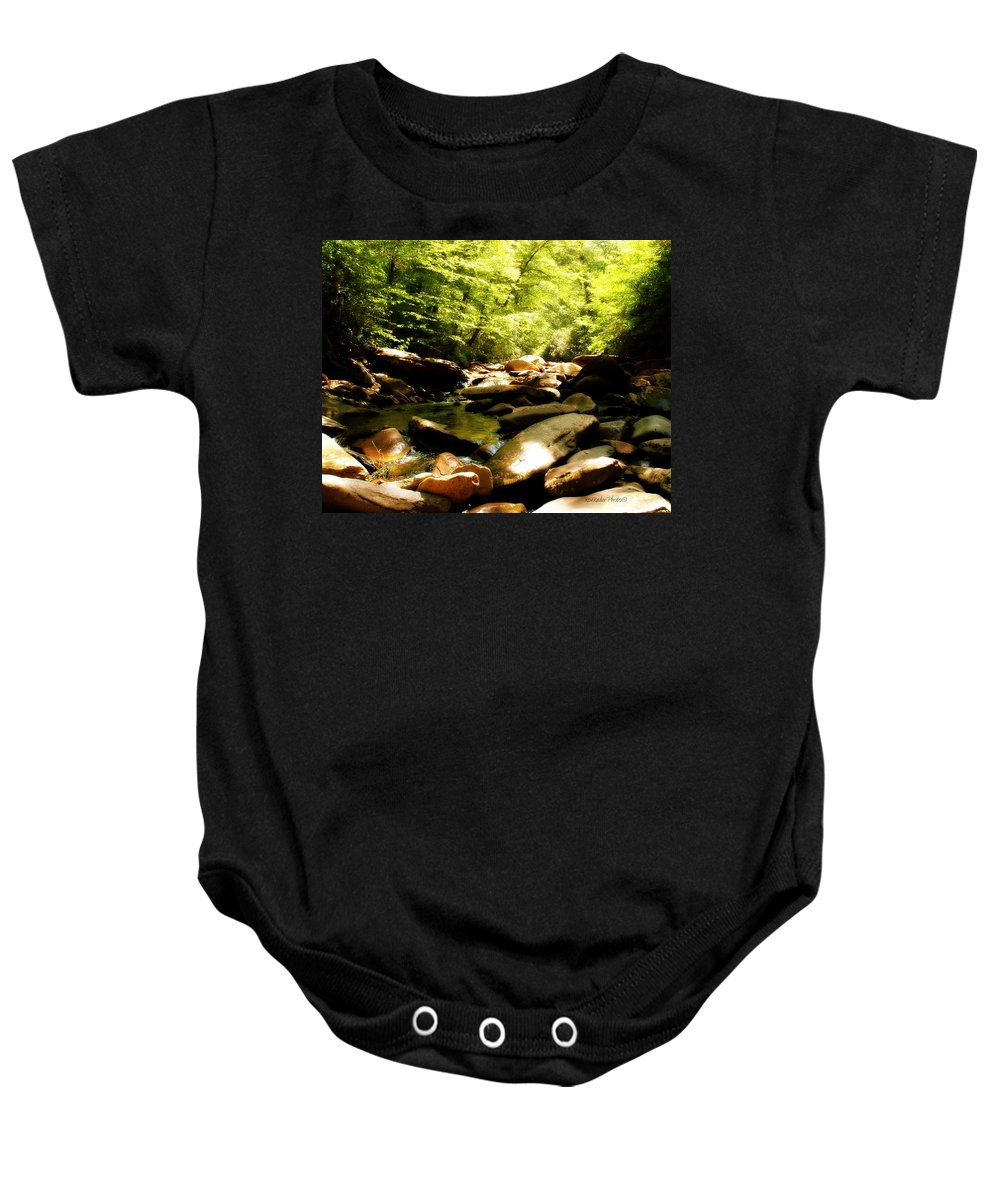 Babbling Brook Baby Onesie featuring the photograph Come Sit A Spell by Roe Rader