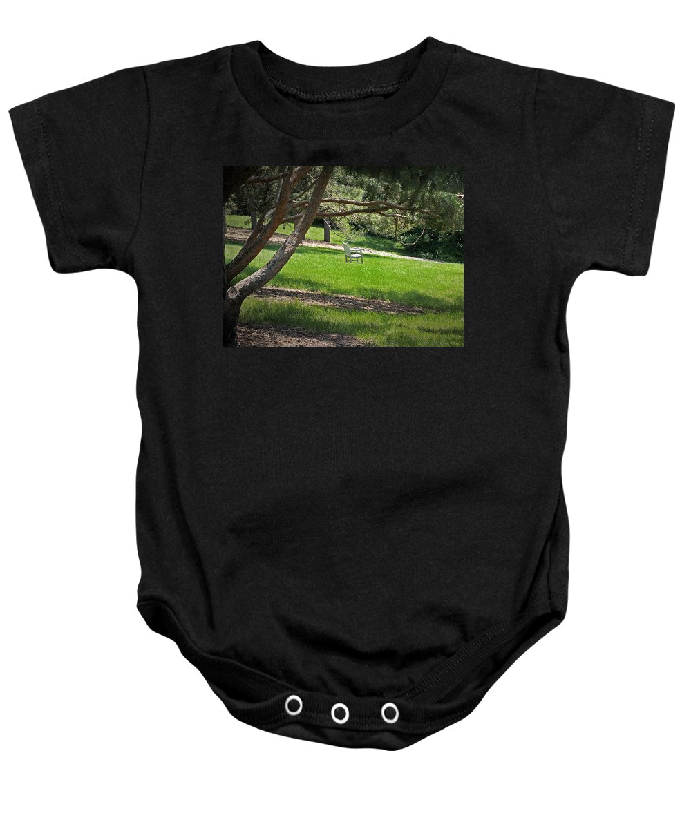 Arboretum Baby Onesie featuring the photograph Come Sit - Enjoy by Lucinda Walter