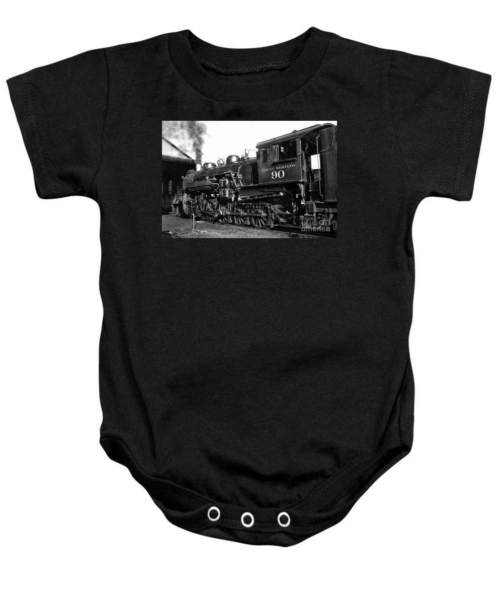 Railroad Baby Onesie featuring the photograph Coming Out Of The Engine Shed by Paul W Faust - Impressions of Light