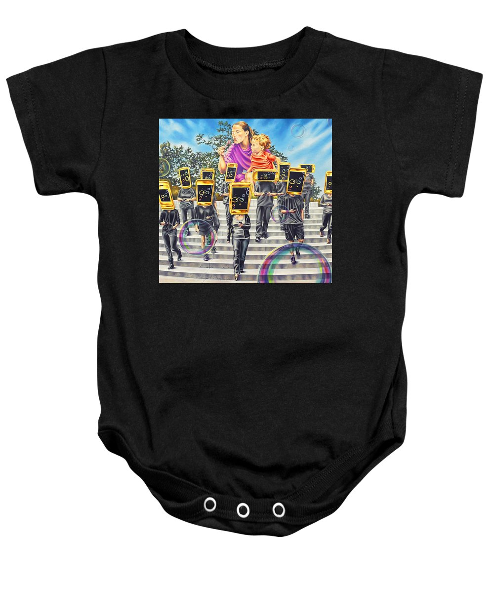 Surrealism Baby Onesie featuring the painting Communion by Charles Luna