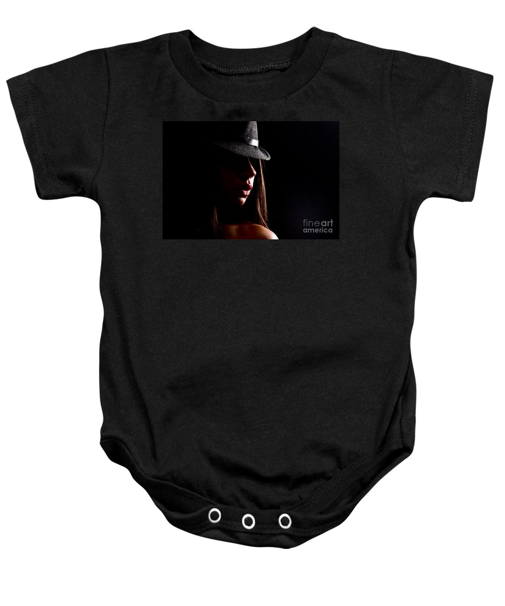 Adult Baby Onesie featuring the photograph Concealed Lips by Jt PhotoDesign
