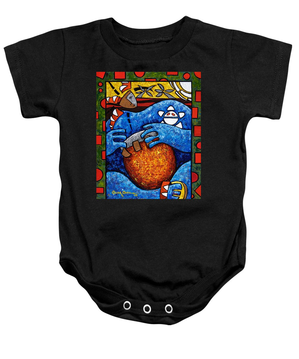 Puerto Rico Baby Onesie featuring the painting Conga On Fire by Oscar Ortiz