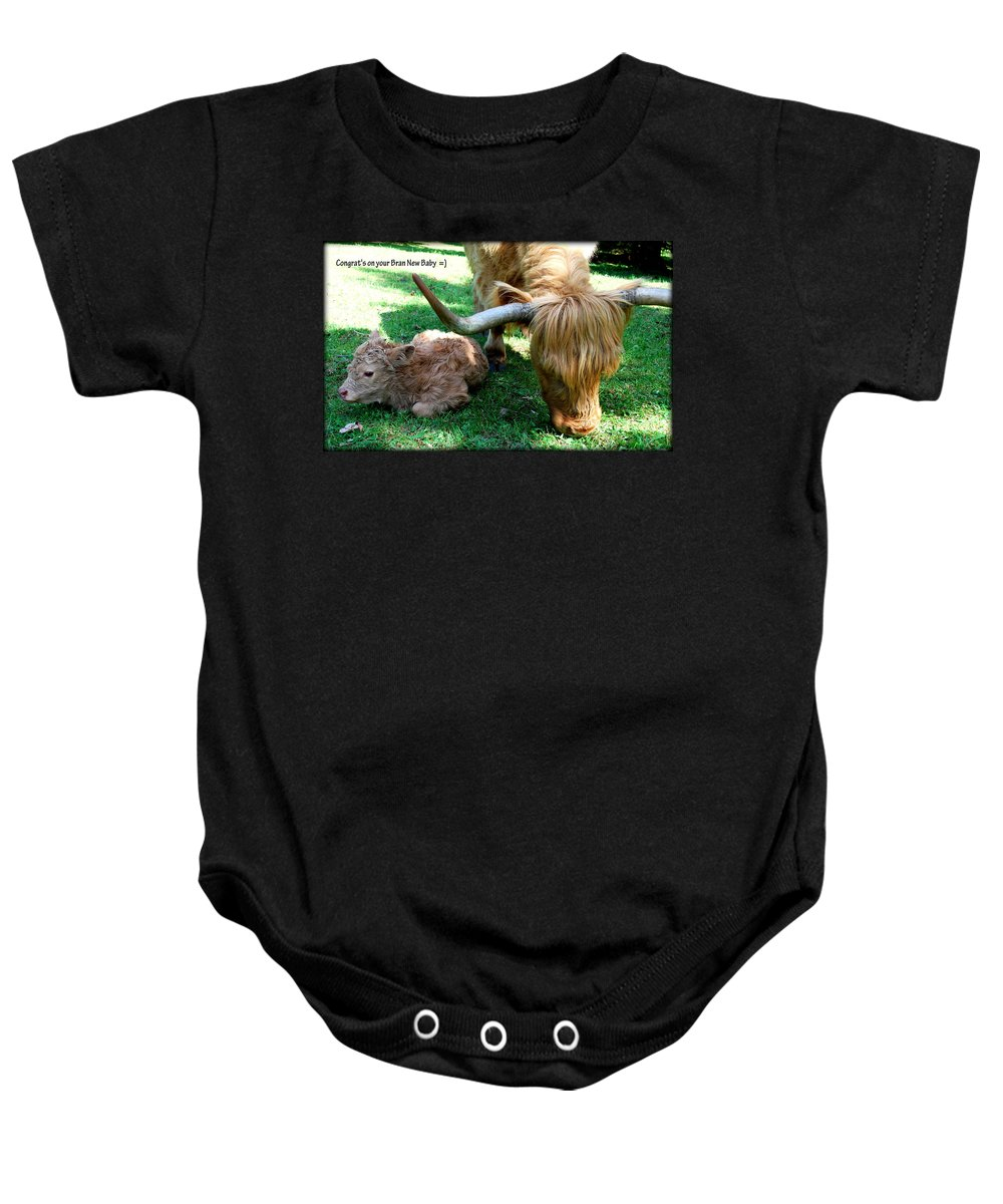 Cow Baby Onesie featuring the photograph Congrat's by Kathy Sampson