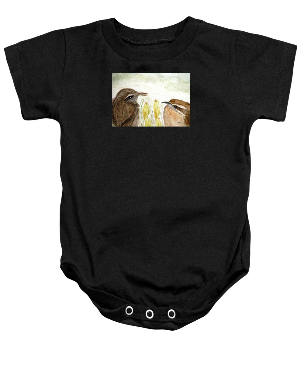 Carolina Wrens Baby Onesie featuring the painting Conversation In The Crocus by Angela Davies
