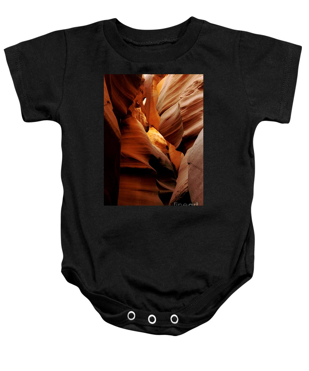 Antelope Canyon Baby Onesie featuring the photograph Convolusions by Kathy McClure