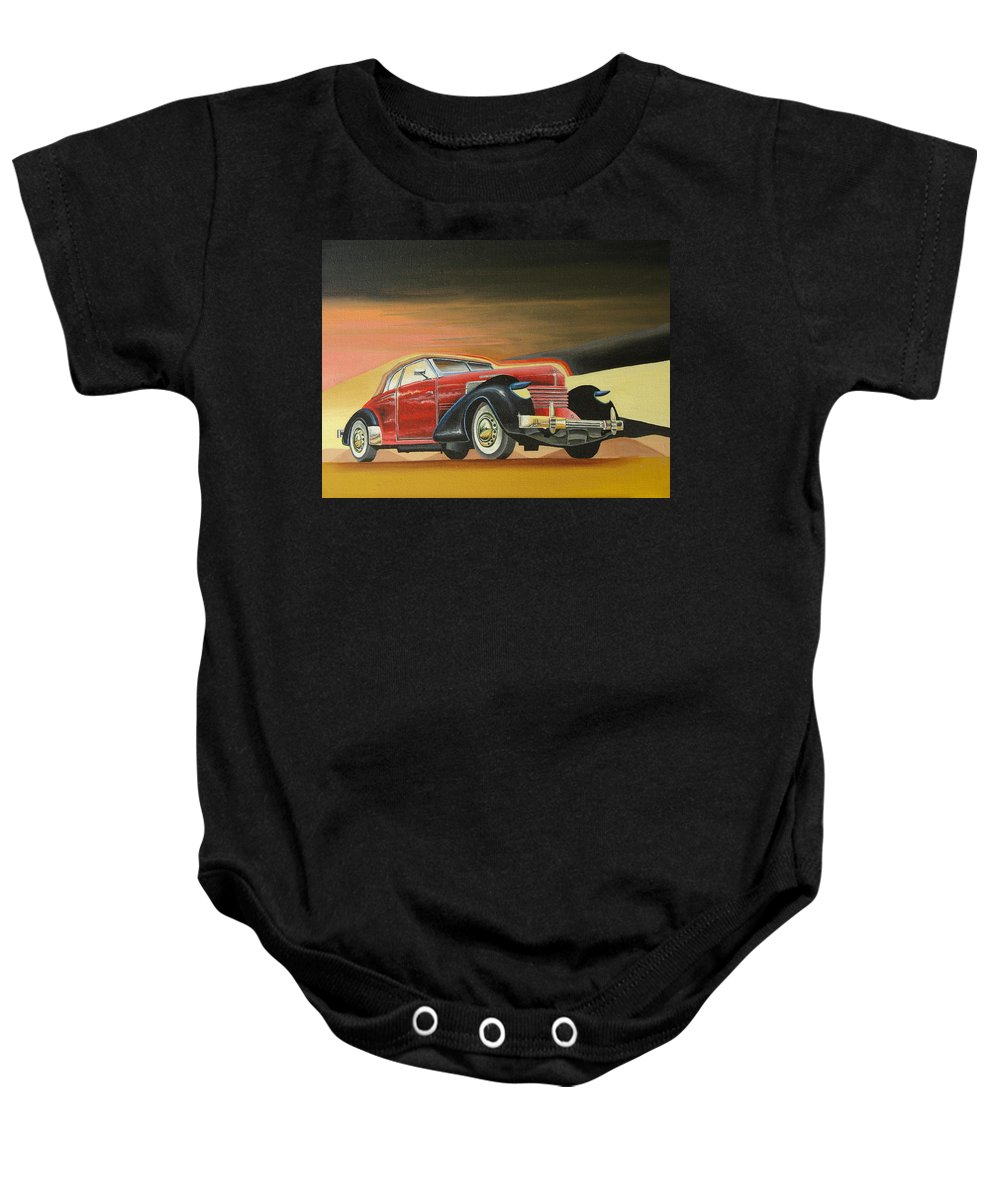 Car Baby Onesie featuring the painting Cord 812 by Stuart Swartz