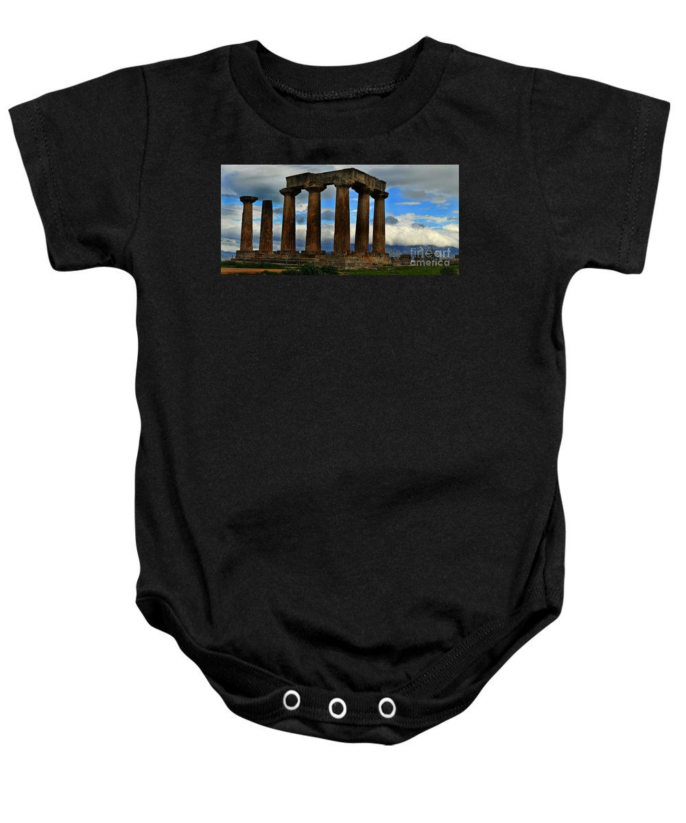 Corinth Baby Onesie featuring the photograph Corinth Pillars by Eric Liller