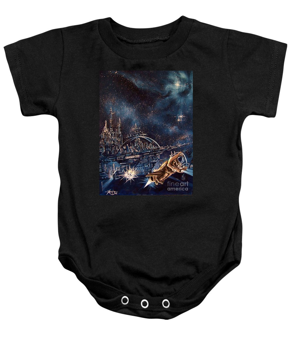 Space Baby Onesie featuring the painting Cosmo Jet by Murphy Elliott