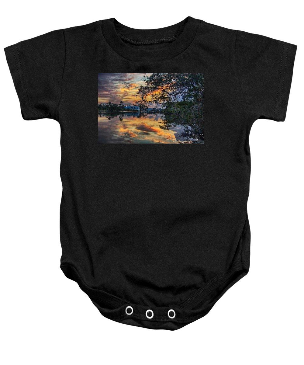 Alabama Baby Onesie featuring the digital art Cotton Bayou Sunrise by Michael Thomas