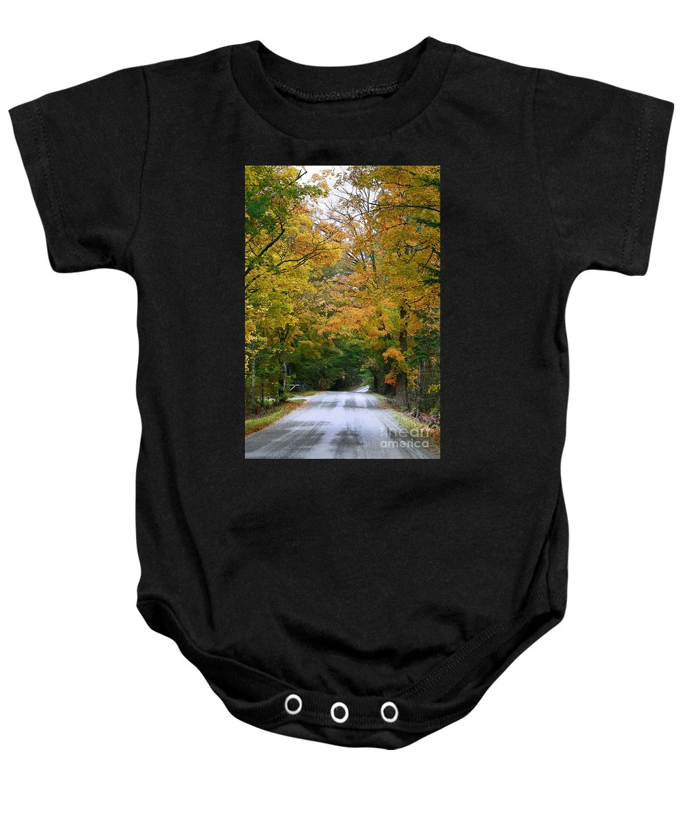 Fall Baby Onesie featuring the photograph Country Road Fall Vermont by Deborah Benoit