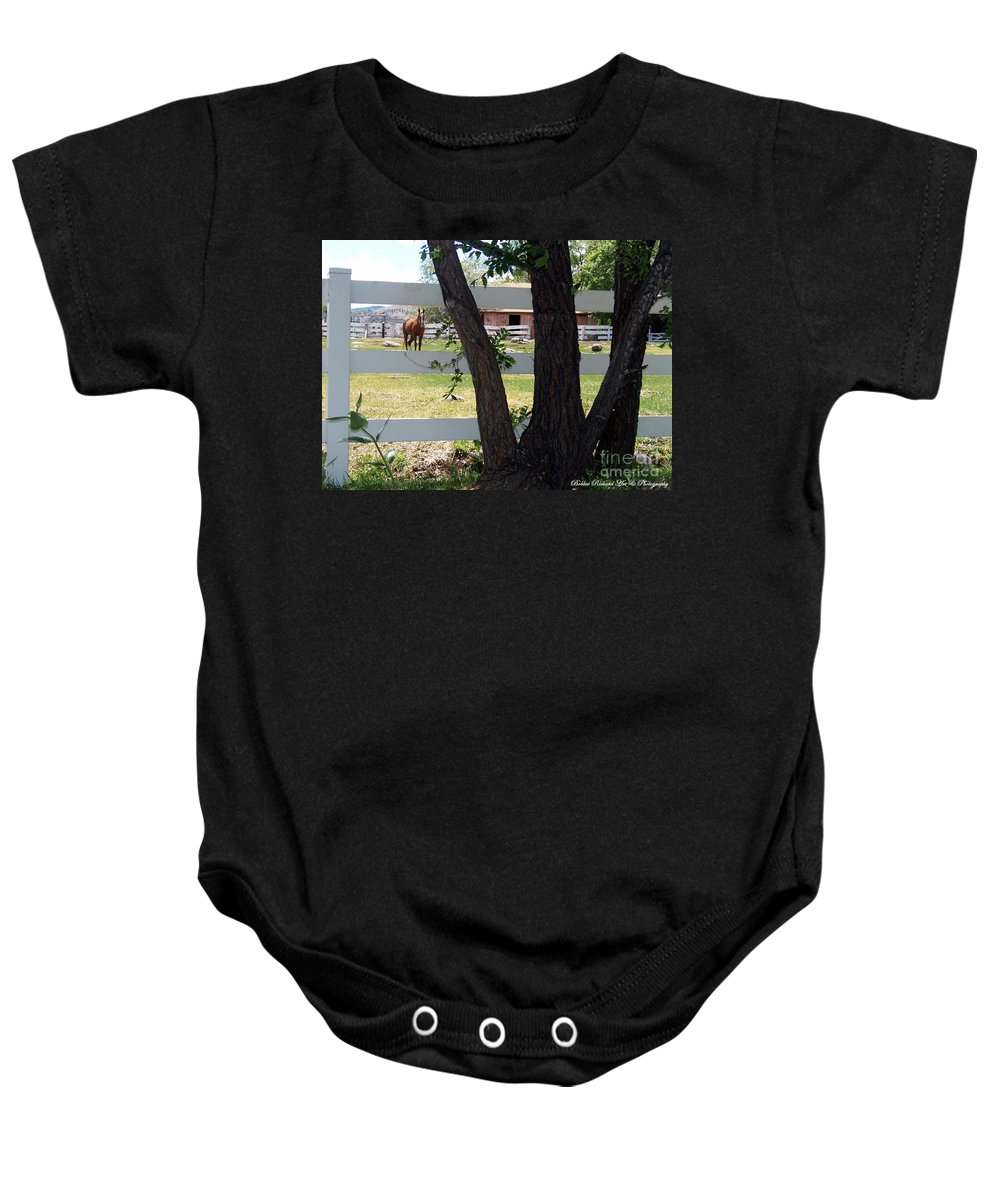 Horse Baby Onesie featuring the photograph Country Setting by Bobbee Rickard