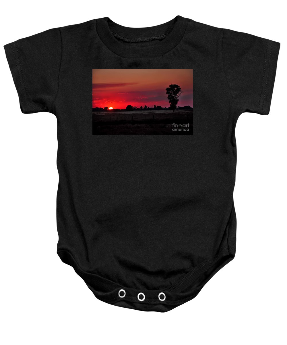 Photography Baby Onesie featuring the photograph Country Sunset by Kaye Menner