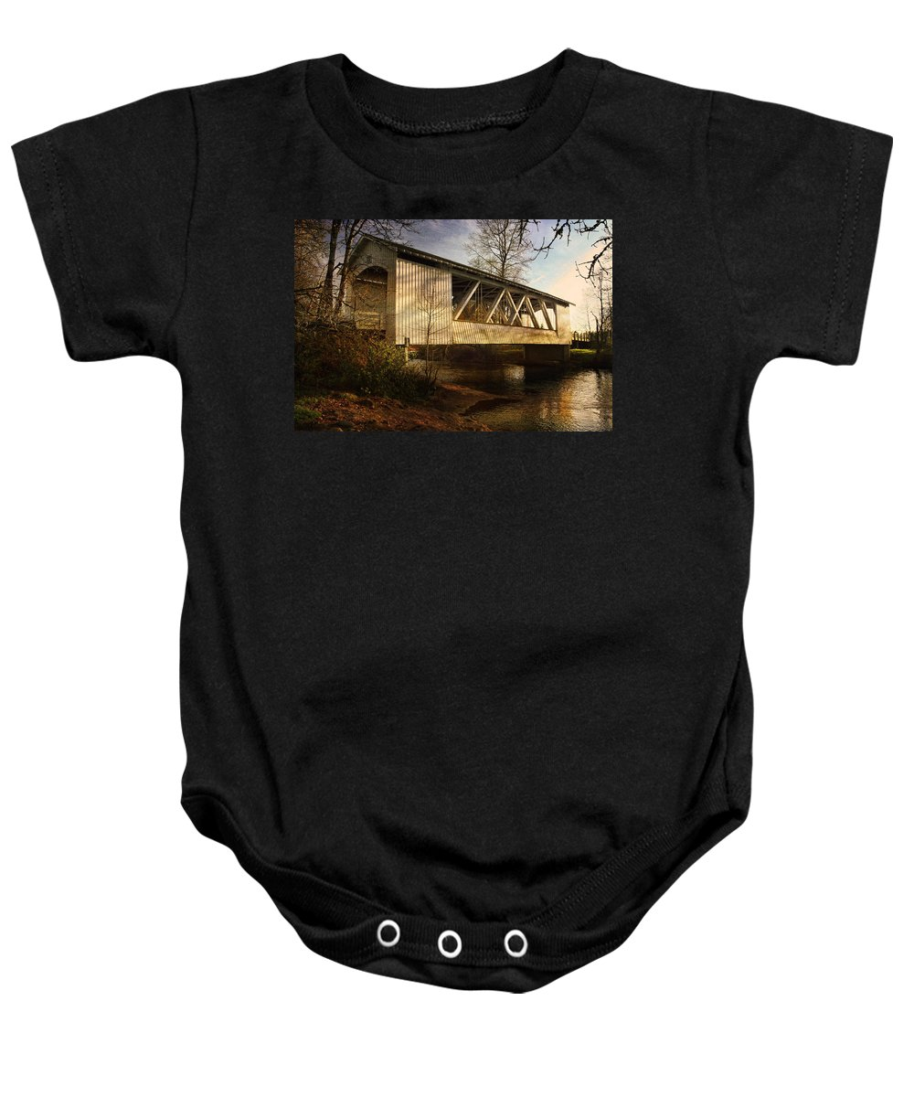 Bridge Baby Onesie featuring the photograph Covered Bridge by Wes and Dotty Weber
