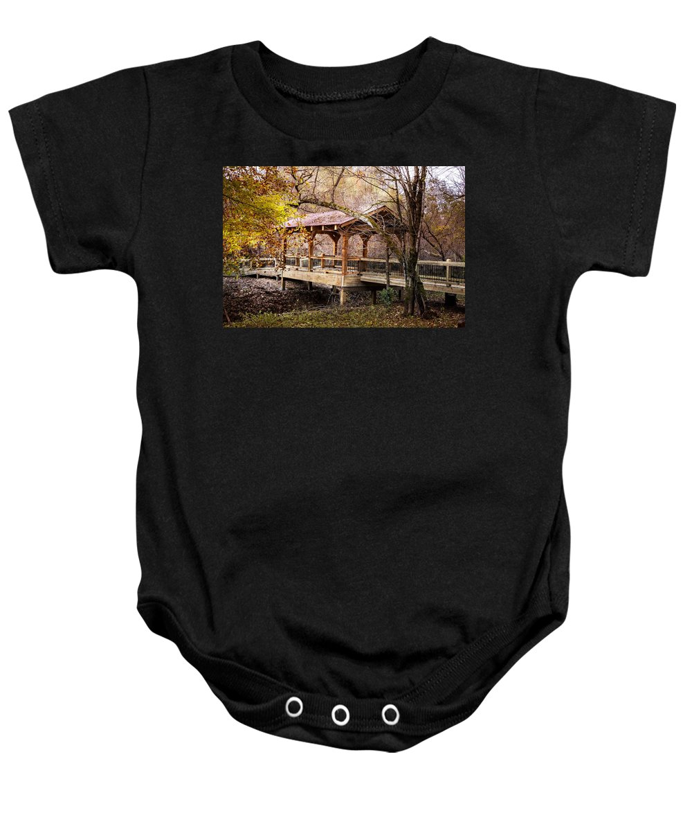 Appalachia Baby Onesie featuring the photograph Covered Bridge On The River Walk by Debra and Dave Vanderlaan