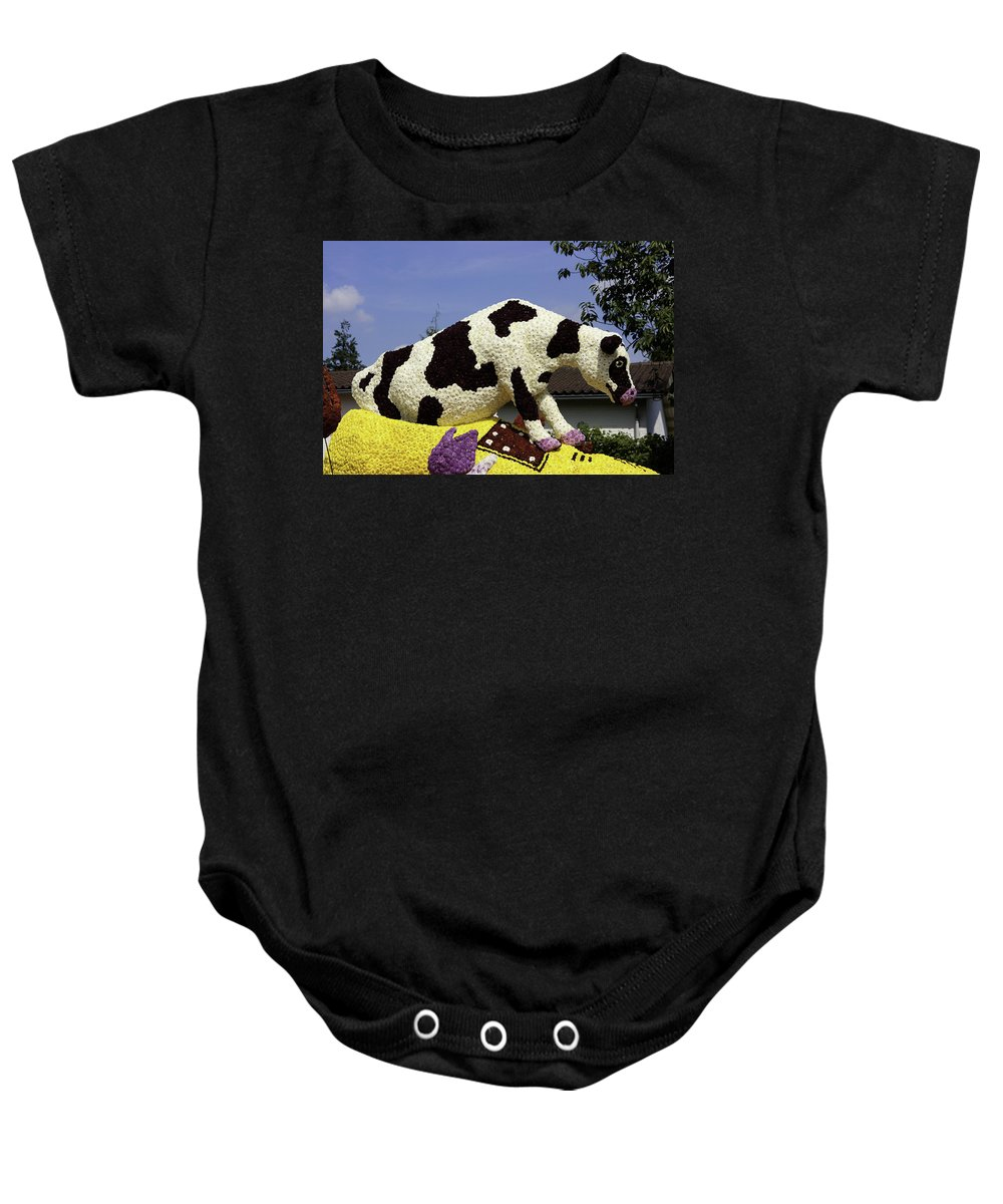 Cow Baby Onesie featuring the photograph Cow On Clog 3 by Peter Lloyd