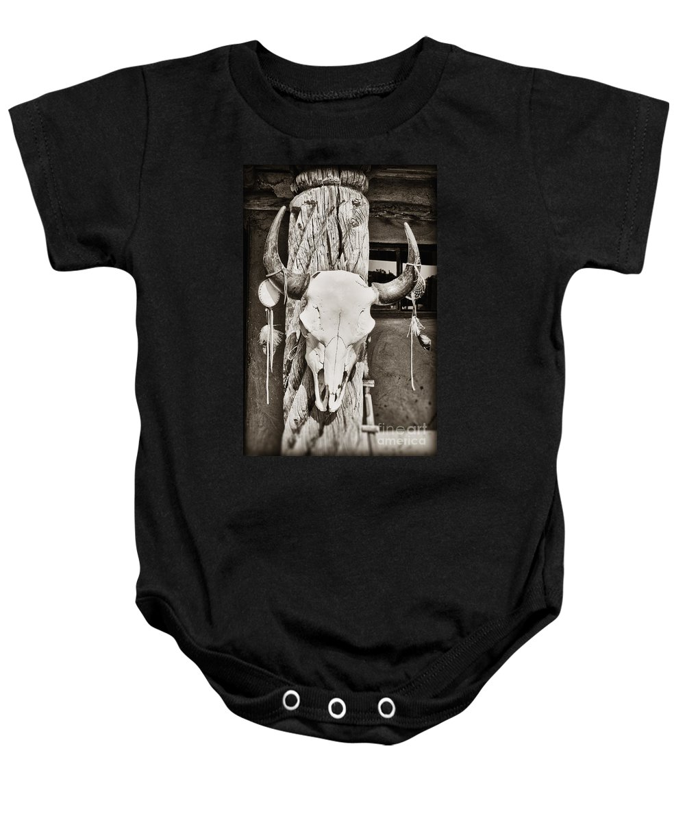 Cow Skull Baby Onesie featuring the photograph Cow Skull by Bryan Mullennix