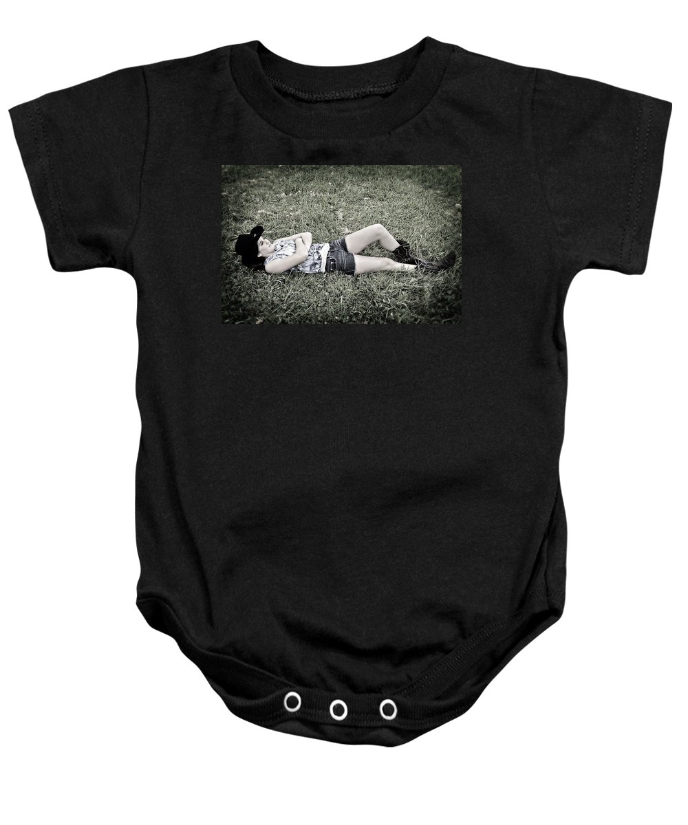 Young Baby Onesie featuring the photograph Cowgirl In Clover by Susan Leggett