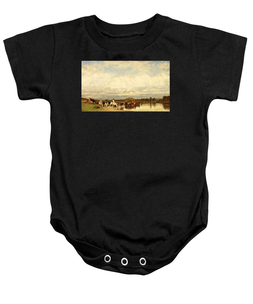 Jules Dupre Baby Onesie featuring the painting Cows Crossing A Ford by Jules Dupre