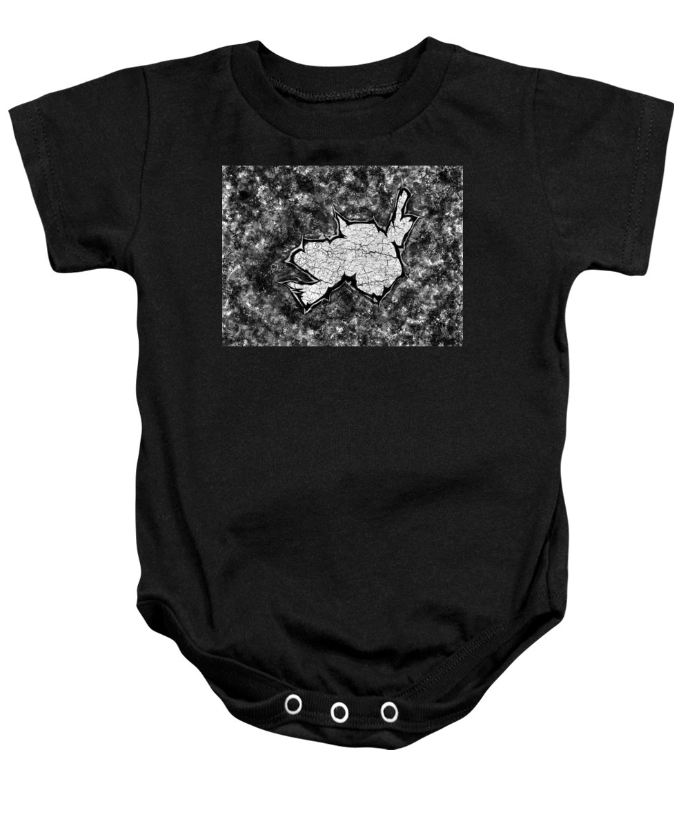 Crack Baby Onesie featuring the digital art Digital Pixel Crack by Mathieu Lalonde