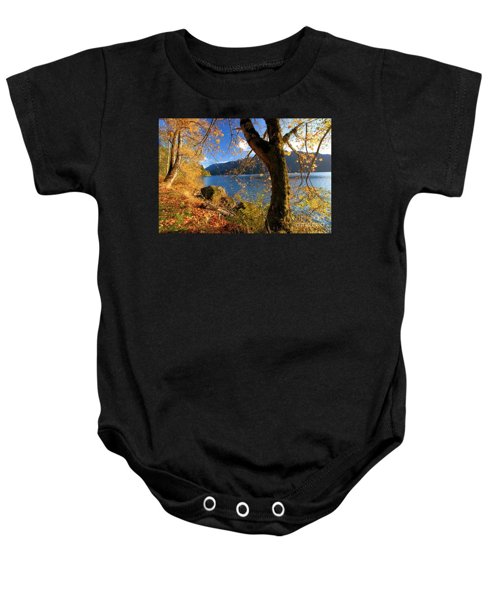 Olympic National Park Baby Onesie featuring the photograph Crescent Through The Woods by Adam Jewell