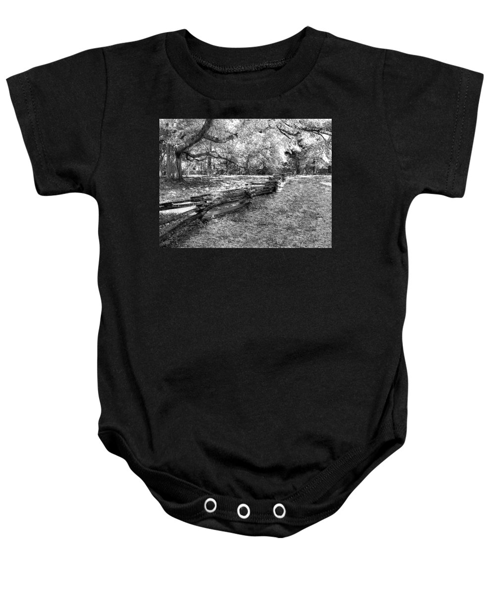 Fence Baby Onesie featuring the photograph Crooked Fence by Nadine Lewis