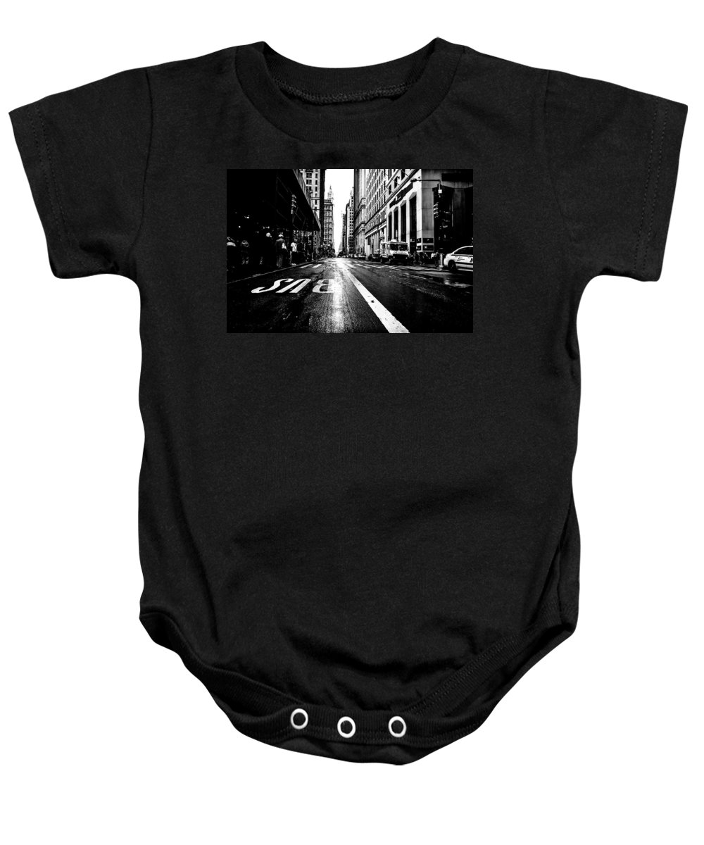 Streets Of New York Baby Onesie featuring the photograph Crossing Trinity by Digital Kulprits