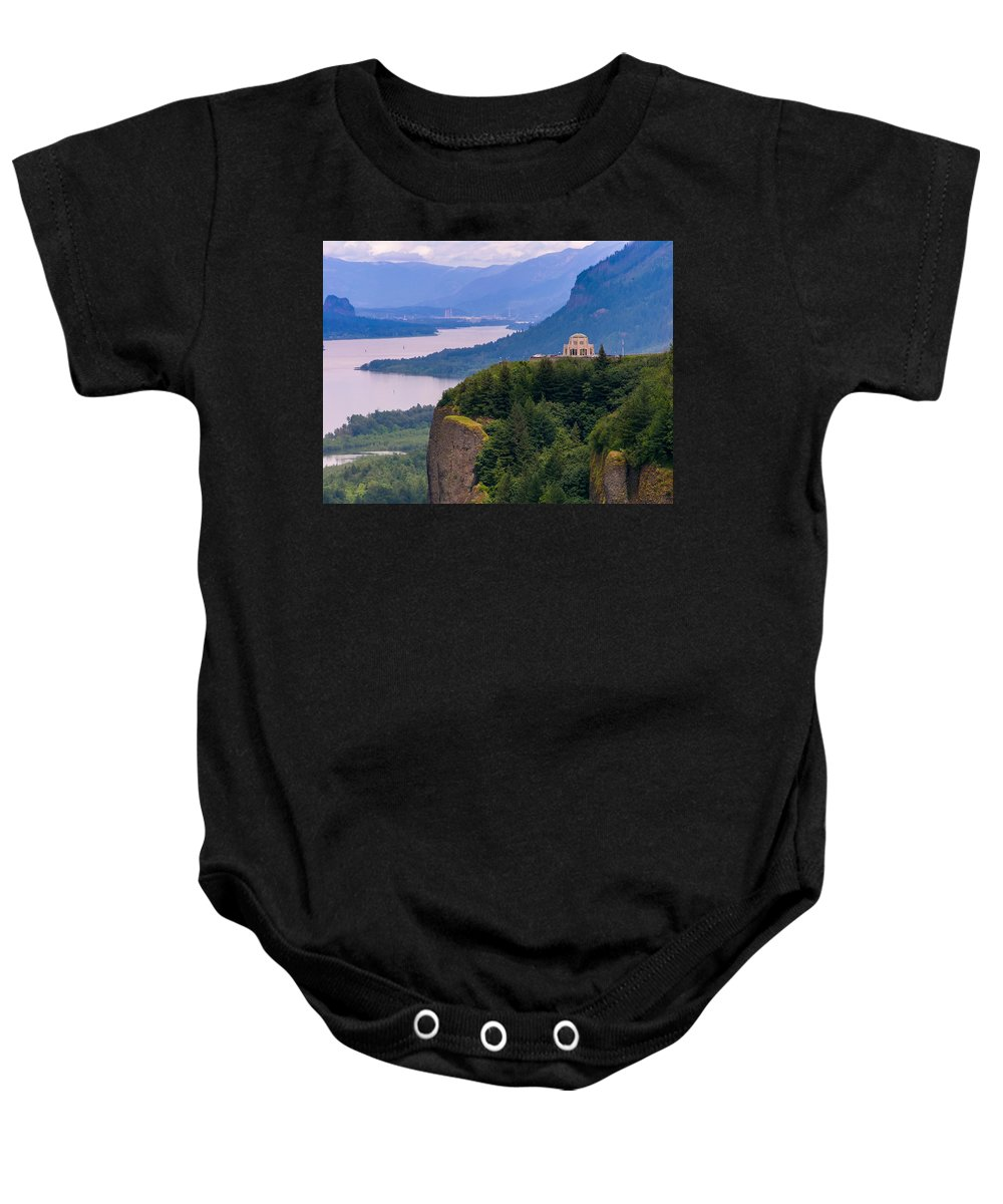 Crown Point In Columbia River Gorge Baby Onesie featuring the photograph Crown Point 3 by Mike Penney