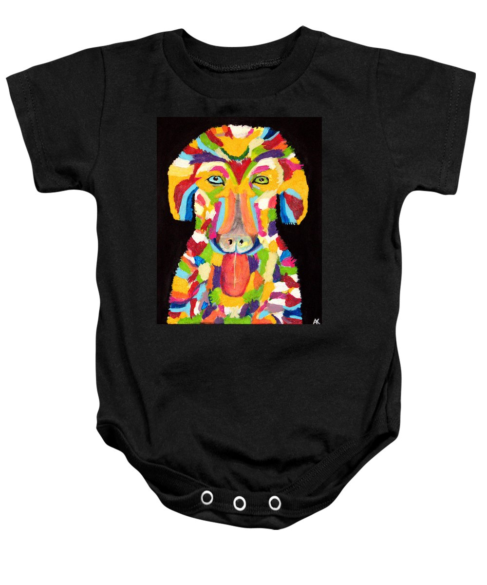 Curly Baby Onesie featuring the painting Curly Colorful Retriever by Aat Kuijpers