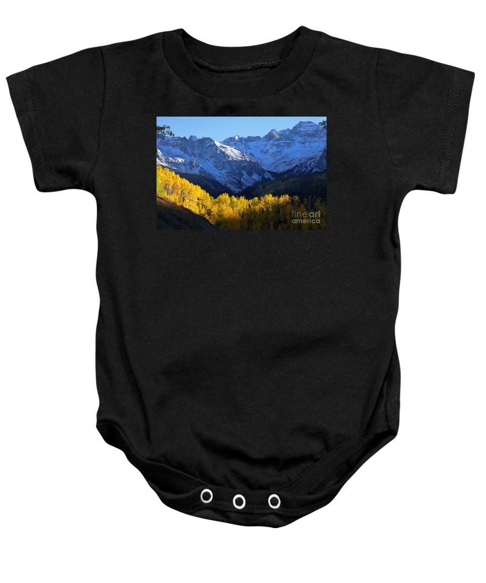 Autumn Colors Baby Onesie featuring the photograph Curtain Call by Jim Garrison