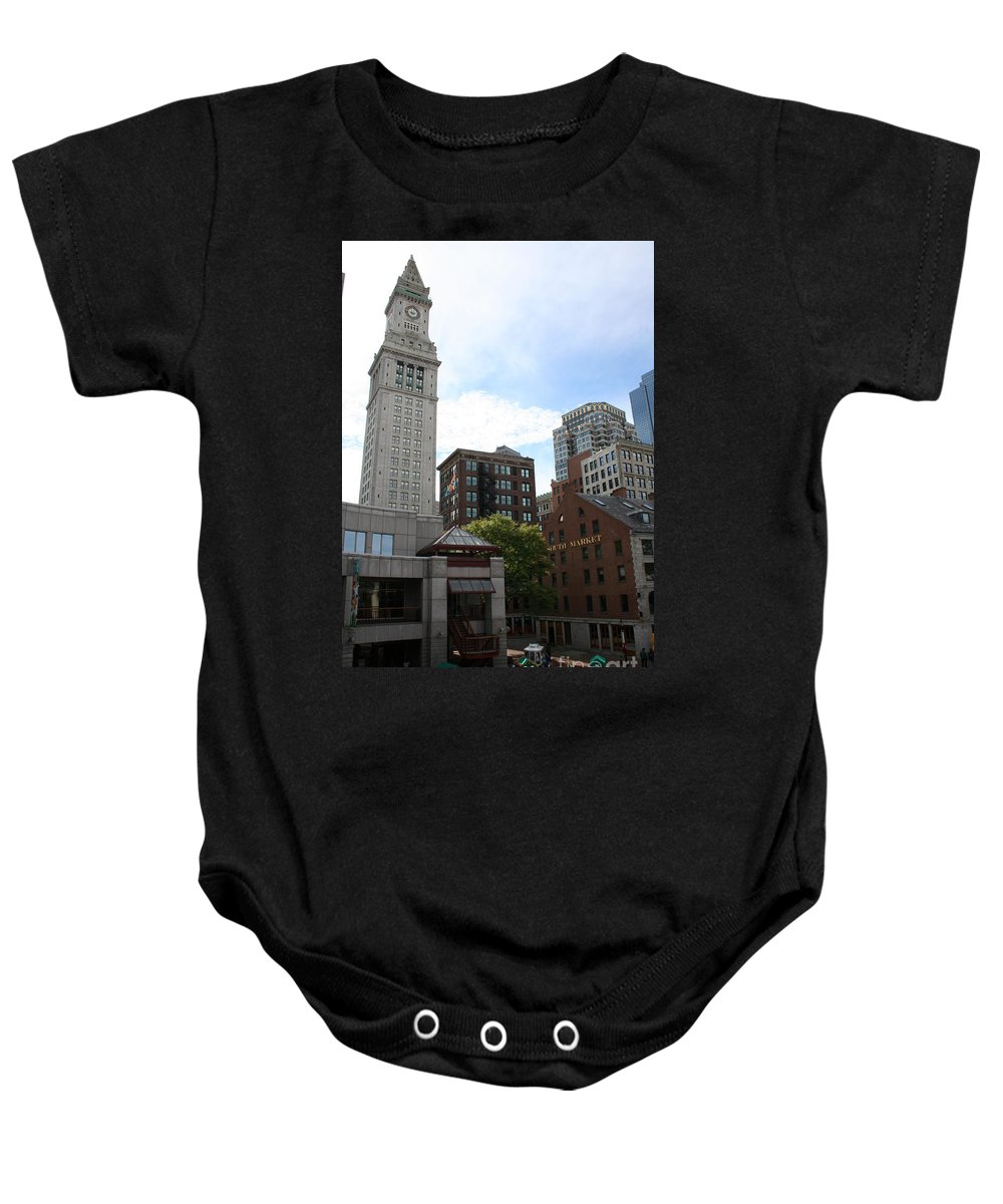 Boston Baby Onesie featuring the photograph Custom House - Boston by Christiane Schulze Art And Photography