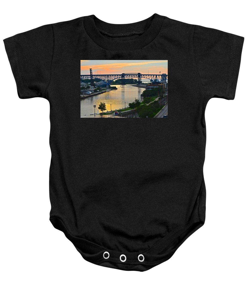 Cuyahoga Baby Onesie featuring the photograph Cuyahoga River Cleveland Ohio by Frozen in Time Fine Art Photography
