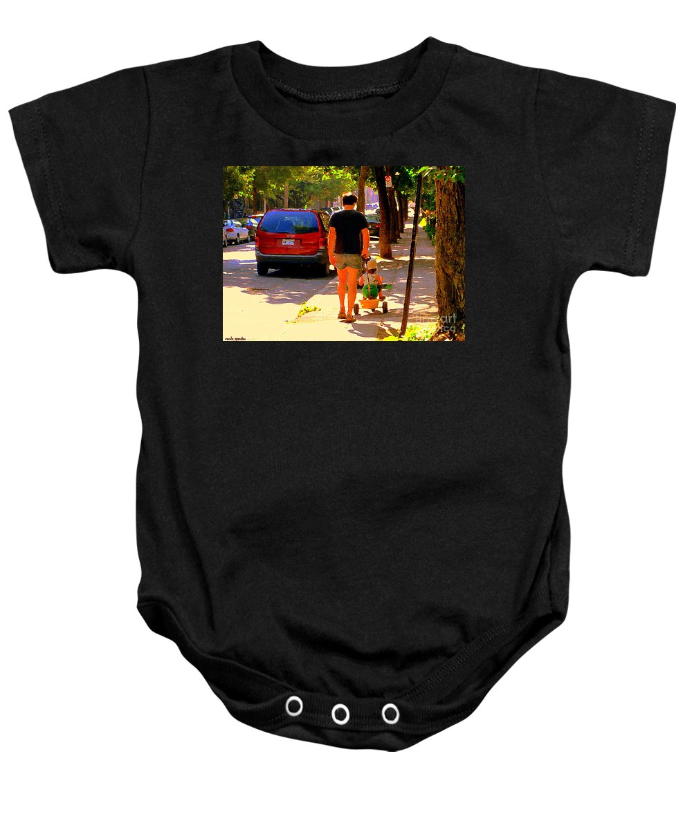 Montreal Baby Onesie featuring the painting Daddy's Little Buddy Perfect Day Wagon Ride Montreal Neighborhood City Scene Art Carole Spandau by Carole Spandau