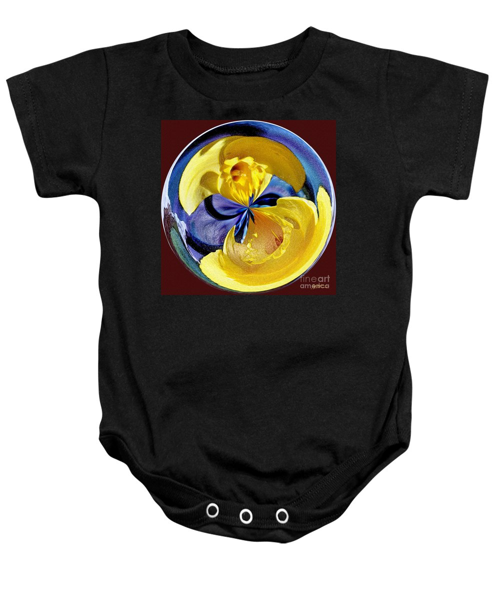 Daffodil Baby Onesie featuring the photograph Daffodil Orb by Jeff McJunkin