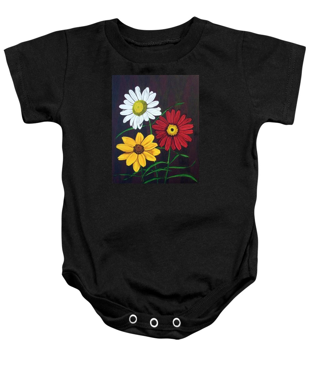 Daisy Flowers Baby Onesie featuring the painting Daisy Mae by Brandy House