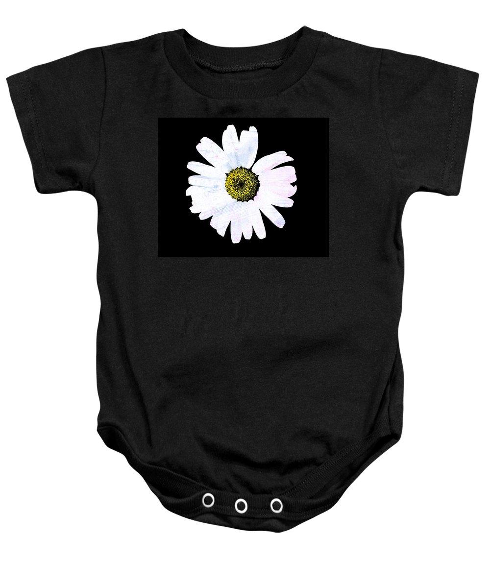 Daisy Baby Onesie featuring the photograph Daisy On Black by Marie Jamieson