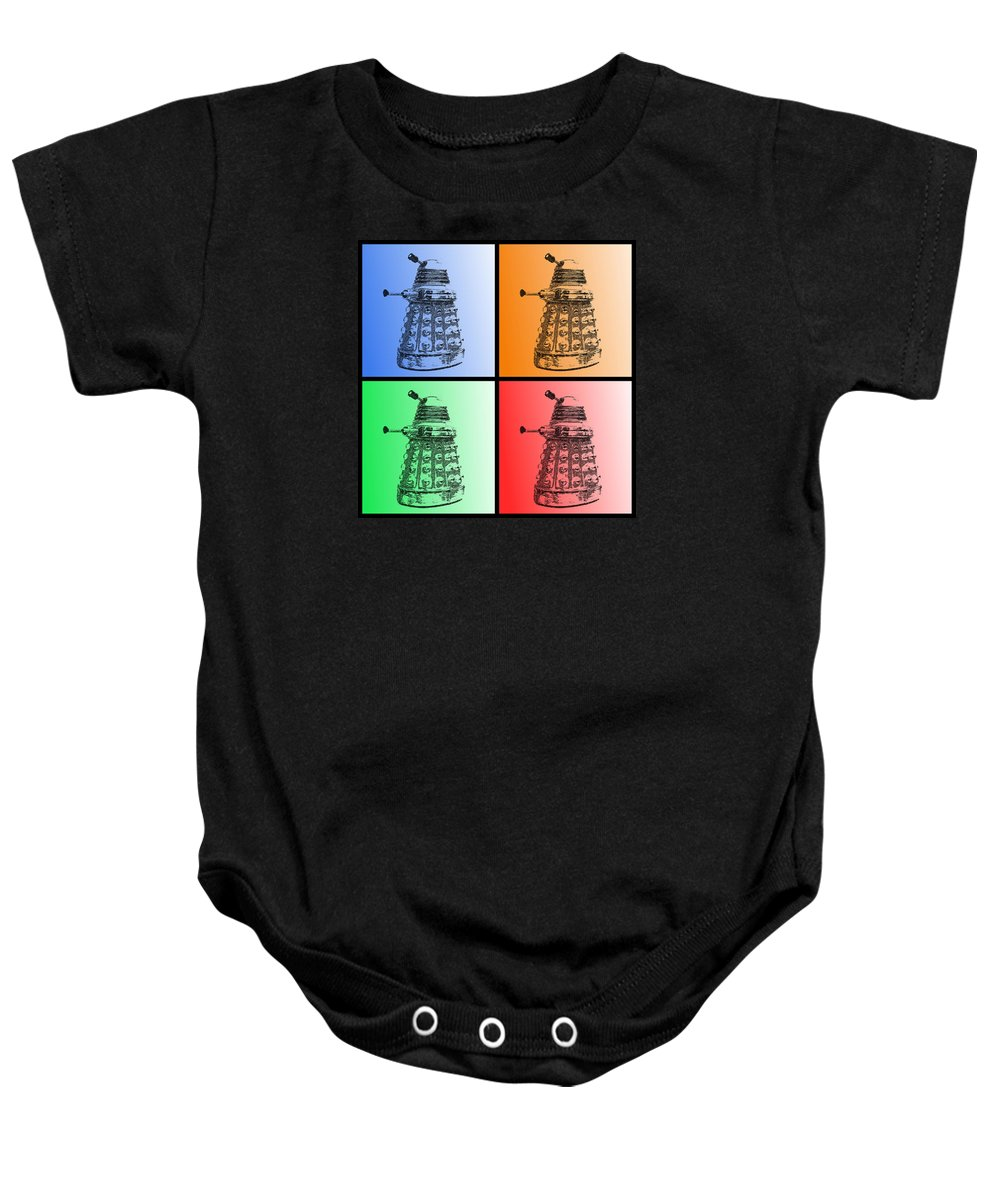 Richard Reeve Baby Onesie featuring the photograph Dalek Pop Art by Richard Reeve