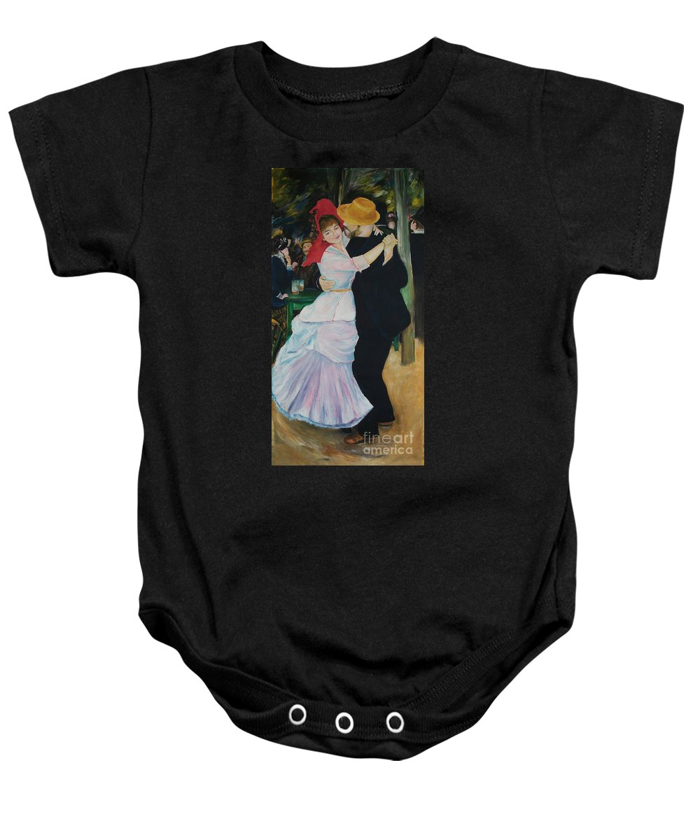 Impressionism Baby Onesie featuring the painting Dance At Bougival Renoir by Eric Schiabor