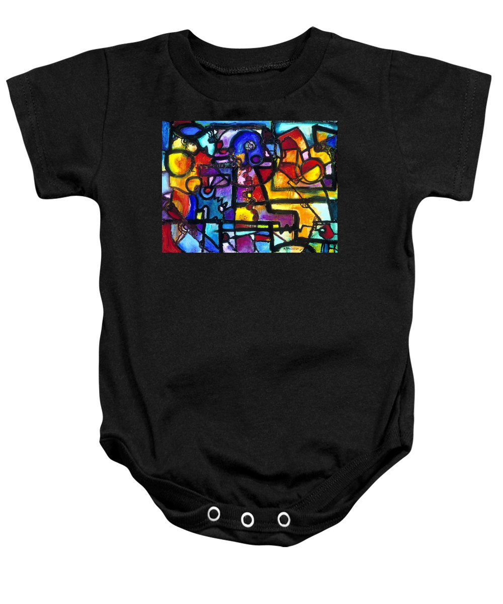 Abstract Baby Onesie featuring the painting Dance Of The Gauge Bosons In Vacuum by Regina Valluzzi