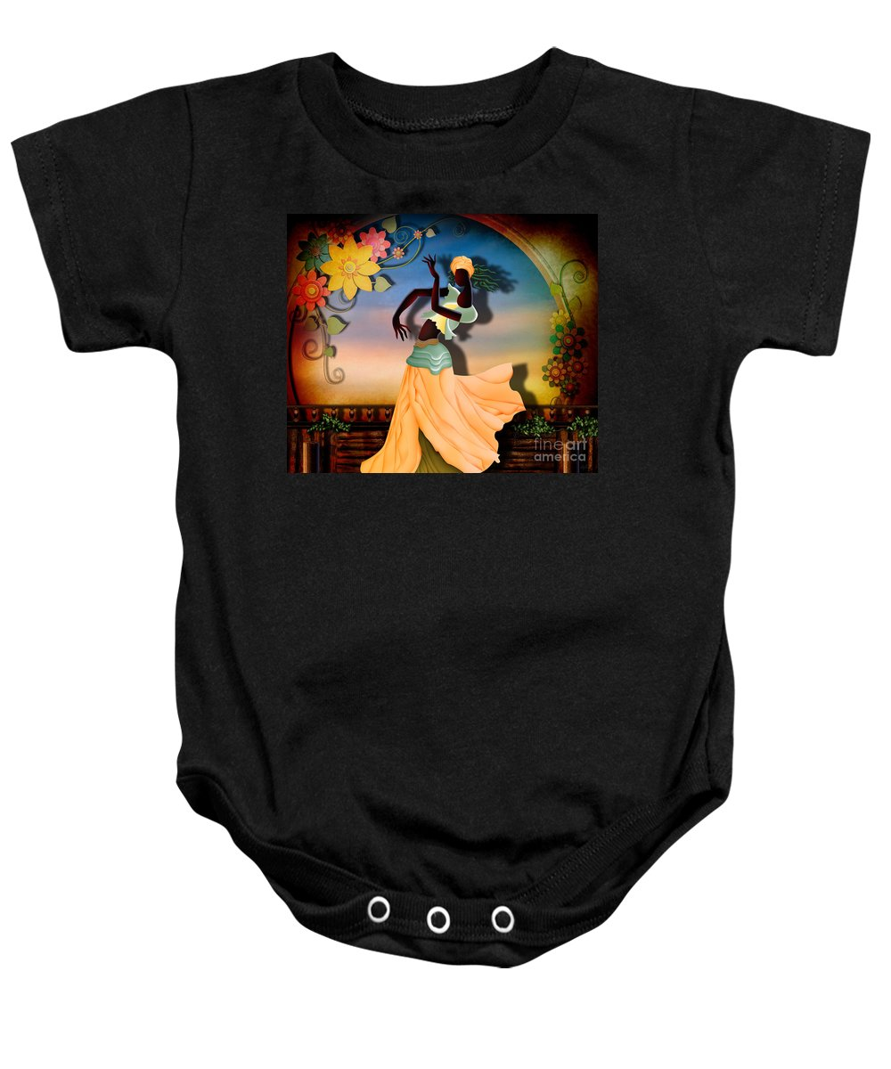 Digital Baby Onesie featuring the digital art Dancer Of The Balcony by Peter Awax