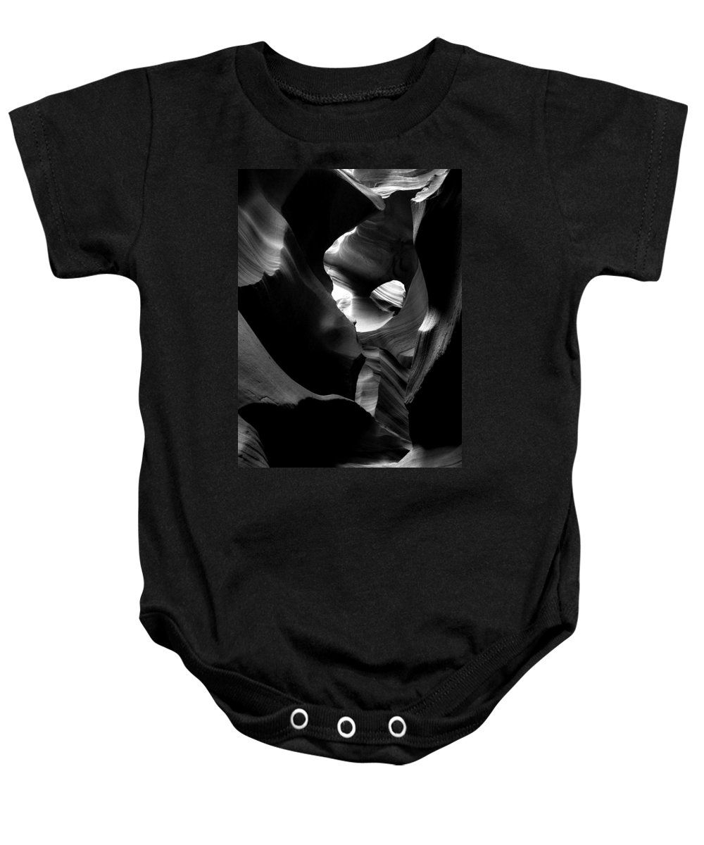 B&w Baby Onesie featuring the mixed media Dancers by Lovejoy Creations