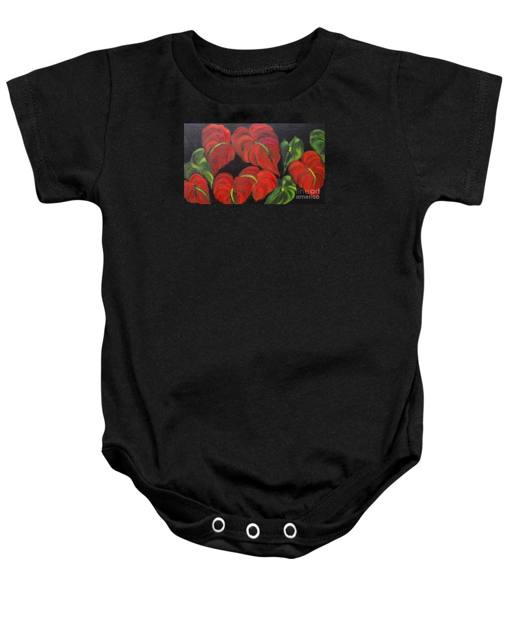 Red Tropical Anthuriums Print Baby Onesie featuring the painting Dancing Anthuriums by Jenny Lee