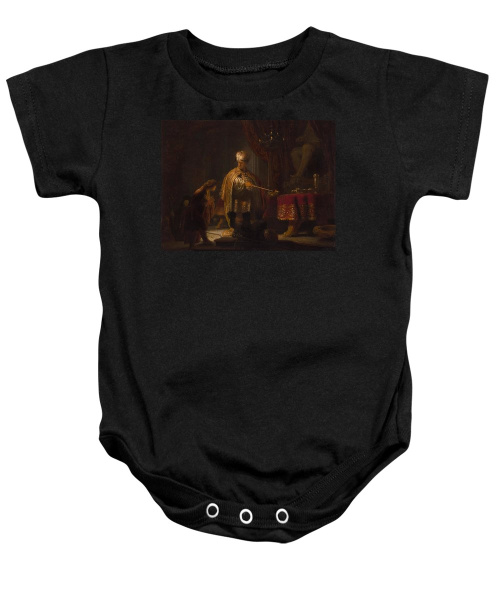 1633 Baby Onesie featuring the painting Daniel And Cyrus Before The Idol Bel by Rembrandt van Rijn