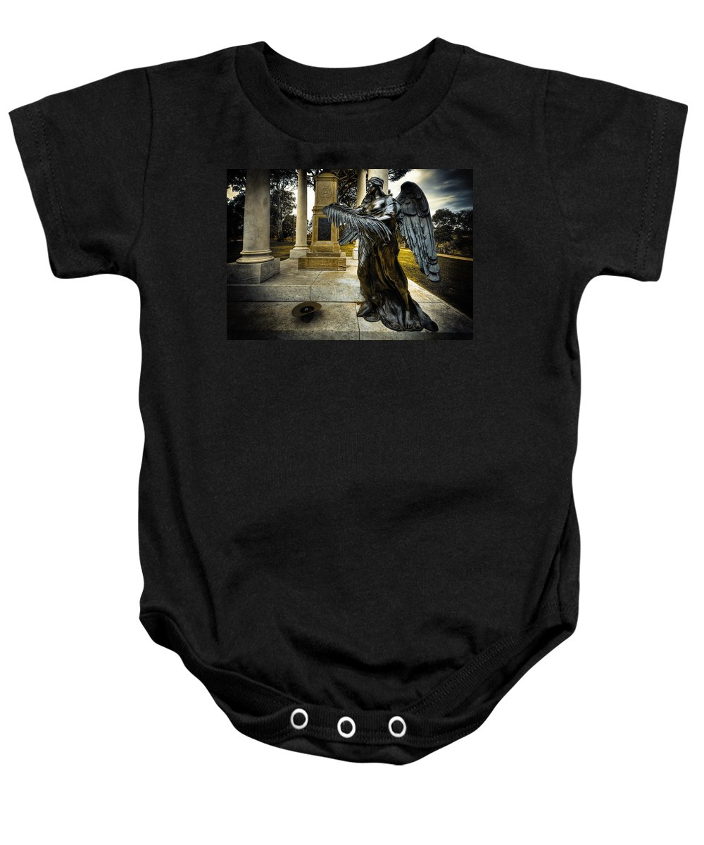 Angel Baby Onesie featuring the photograph Dark Angel by Wayne Sherriff