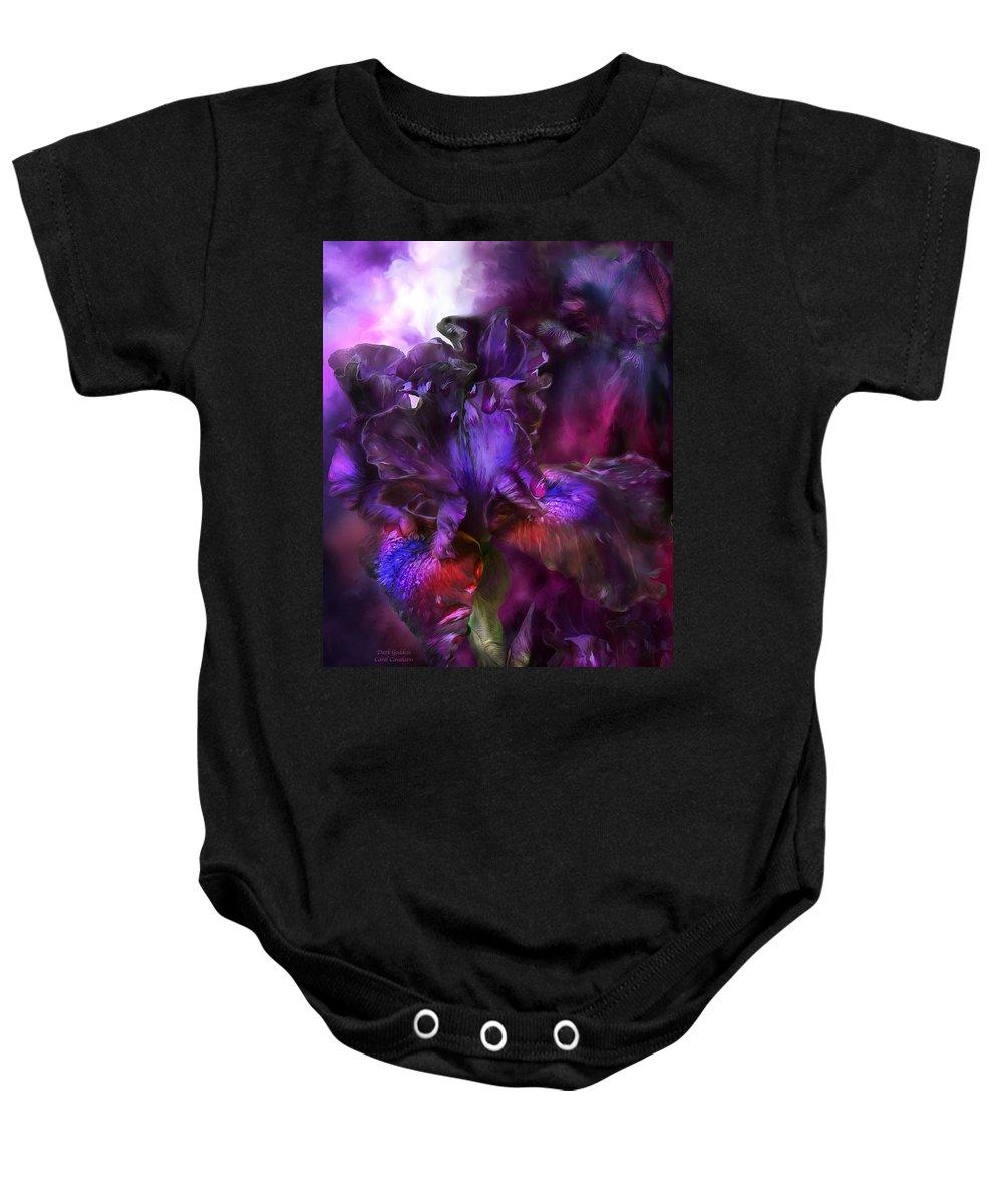 Iris Baby Onesie featuring the mixed media Dark Goddess by Carol Cavalaris