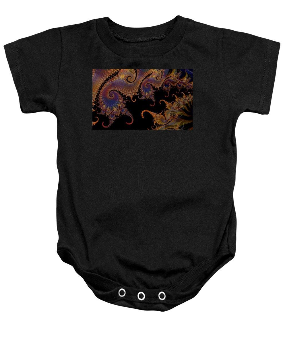 Dark Baby Onesie featuring the digital art Dark Paisley Tails by Fran Riley