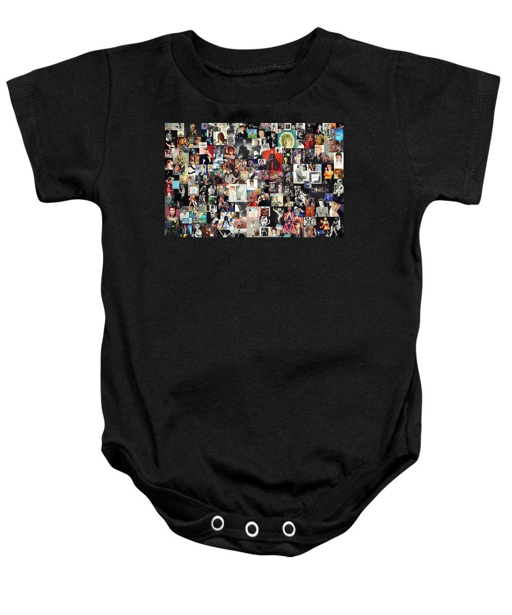 David Bowie Baby Onesie featuring the digital art David Bowie Collage by Zapista Zapista
