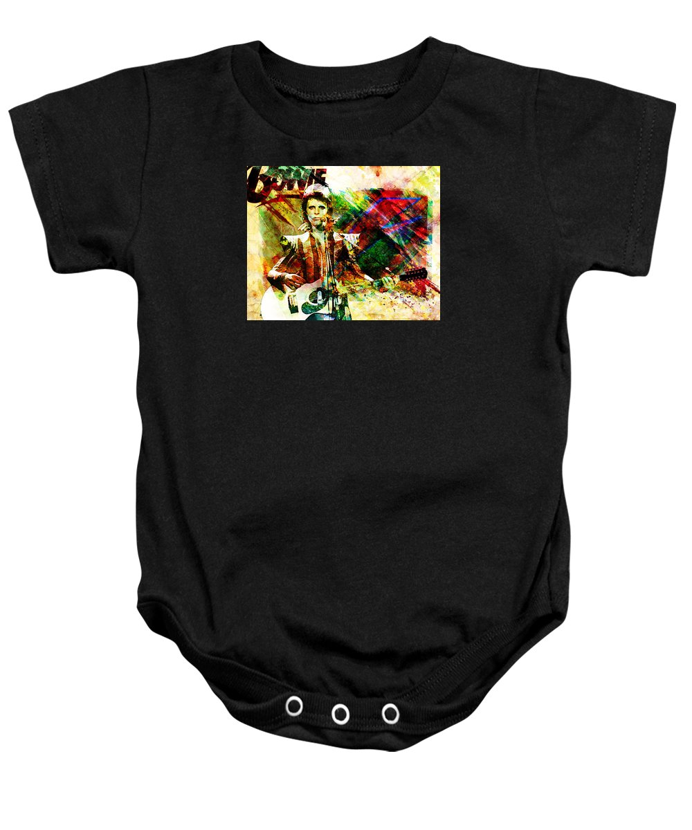 Rock N Roll Baby Onesie featuring the painting David Bowie Original Painting Print by Ryan Rock Artist